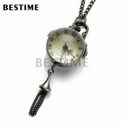 BESTIME Watch Ball Glass Quartz Movement Antique Black Steampunk Pocket Watch Pendant Necklace Chain Roman Numerals