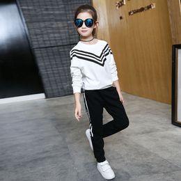 Wholesale 2016 Autumn Winter Style Baby Striped set Kids Cotton Printed School Tracksuit Uniform Sport Suit Girls Clothing Sets