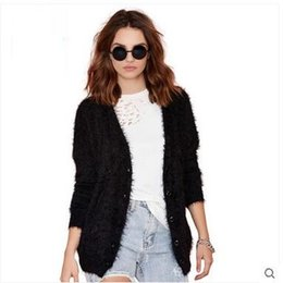 Wholesale 2016 Autumn new women s plush knitted cardigan coat Europe and the joker show thin hippocampal fur garments