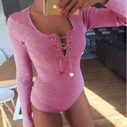 Wholesale Sale Chiffon Black Jumpsuit - Manufacturer provides straightly 2016 hot sale V-neck hearts chain thread long-sleeved tight conjoined shorts Jumpsuits & Rompers SYYD
