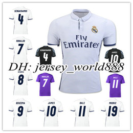 Wholesale 2017 Top Quality Real madrid soccer Jerseys Uniforms RONALDO Home White Away Puple JAMES BALE RAMOS ISCO MODRIC Spain Football Shirts