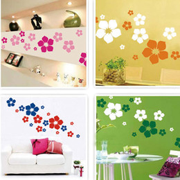 Wholesale Best Sales COLORS Wall sticker Flowers AS a Set Removable Flower Mural Wall Art Stickers Decals Home Decor