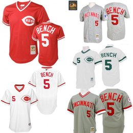 Wholesale Grey Throwback Johnny Bench Authentic Jersey Men s Mitchell And Ness Cincinnati Reds Turn Back The Clock