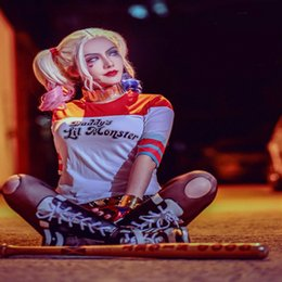 Wholesale High Quality Anime Suicide Squad Harley Quinn Cosplay Costumes T Shirt Batman Movie Joker Casual Tops for Women S XL HQ0827
