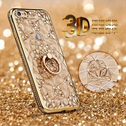Wholesale Cell Phone Bling iPhone7 Cellphone Case D Electroplating Soft TPU i Phone Crystal Rhinestone Cover for iPhone s Plus Colors