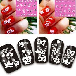 Perfect Summer Nail Art Stickers 3D Silver Decals 3D Nail Art Sticker White Flower designs
