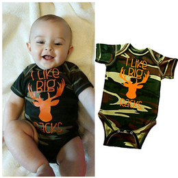 Wholesale One Piece Deer Cute Animal Romper Newborn Infant Baby Boy Clothes Camo Cotton Jumsuit Outfit Army Green Clothing Romper