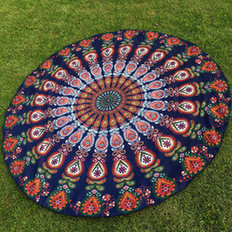 Wholesale DHL OR SF EXPRESS Peacock Round Beach Blanket Floral Vintage Outdoor Summer Picnic Yoga Sports Beach Towel