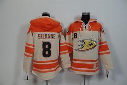 Wholesale 2016 New 2015 Cheap Anaheim Ducks Mens Sweaters 8 Teemu Selanne Yellow Ice Hockey Jersey High quality Hoodies