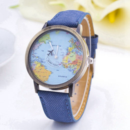 Wholesale Women Wristwatch Fashion Creative Airplane Seconds Casual Quartz Watch Women World Map Dial Fabric Leather Dress Watches Relojes Mujer