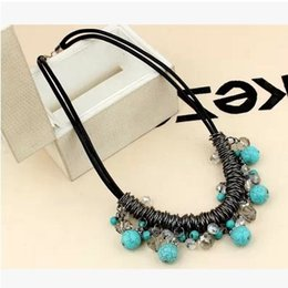 Leather Rope Necklace Elegant Design Collar Choker Sweater Bib Statement Necklaces Turquoise Colourful Fashion Jewelry for Women Girls Gifts