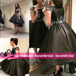 Wholesale Little Short Black High Low Cocktail Dresses A Line Beaded Jewel Neckline Cheap Casual Wear Satin Boho Bridal Prom Party Evening Gowns