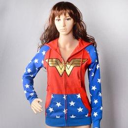Wholesale Wonder Woman Costumes Cosplay jewelry metal bracelet Women Long Sleeve Zip Hoodie Coat Sweatshirts Size S M L XL XL