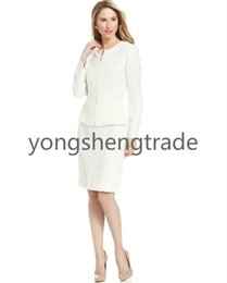 Zip-Front Jacket Skirt Suit Collarless Straight Silhouette Skirt Ivory Suit Both Pieces Are Lined 722