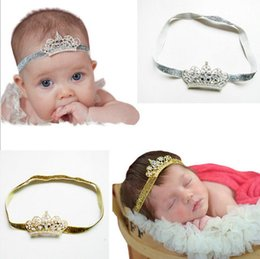 Wholesale Children newborn baby fashion gold silver crown princess diamond crystal tiara headband hair band girl child attachment party supplies Gifts