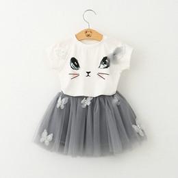 Wholesale Baby Girls Cartoon Lace Tutu skirt Sets Cat Top T shirt Skirt sets Infant Summer Short Skirt Suit Children Outfits E1014