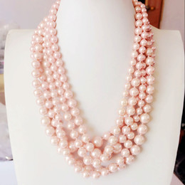 Wholesale Ladies Short Chain Designs - Free Shipping High Quality Glass Pearl Pink Layered Beaded Statement Chunky Short Fashion Necklace, New Design Handmade Sweet Lady Necklace