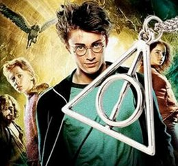 Wholesale 2016 Harry Potter and the Deathly Hallows triangle necklace pendant link chains sweater chain necklace antique cooper gold silver necklaces
