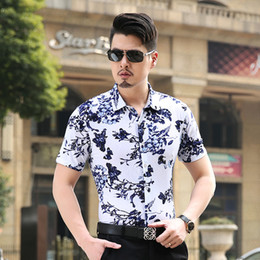 Wholesale-Mens Formal Shirts Designs Short Sleeve Dress Shirts Business Shirt 2016 High Quality Print Floral Male Button Down Dress Shirts