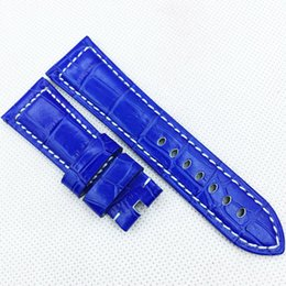 26mm 125mm 75mm Fashion Sky Blue Crocodile Calf Leather Band Strap for PAM LUNMINOR RADIOMIR Watch band