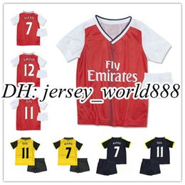 Wholesale Best quality kids Arsenal soccer jersey Kits ALEXIS WILSHERE GIROUD CHAMBERS OZIL chilld youth football shirts