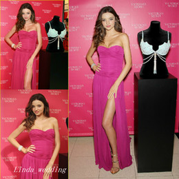 Miranda Kerr Fuchsia Evening Dress Red Carpet Side Slit Prom Dres Celebrity Dress Formal Party Gown