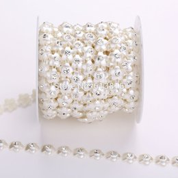 10yards 12mm Ivory Flower Pearl Rhinestone Chain Trims Sewing Crafts Costume Applique