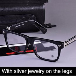 Wholesale Brand Glasses Chromehearts With Silver jewelry on the legs men glasses frame Box Lunch A eyeglasses myopia reading eyeewear oculos