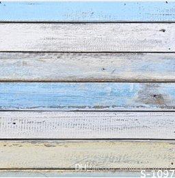 Wholesale Blue Wooden Board Wall X7ft Children Baby Photo Vinyl Backgrounds Photography for Photo Studio Backdrop