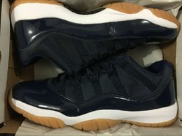 with box 11 Low Varsity Red 11s Navy gum blue white men basketball shoes sports trainers wholesale DISCOUNT size 8-13