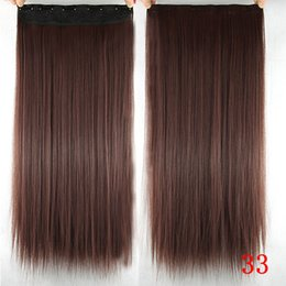 Wholesale 100pcs Long Beige Brown Inch cm g Synthetic Straight Hair Clip In Hair Extension Hairpieces None Lace Hair For Girl