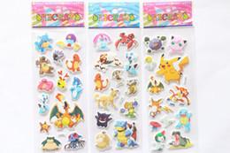 Poke go 3D Stickers new children cartoon pocket monster Pikachu Charmander Jeni turtle 3D PVC Stickers 21x7.5cm B001