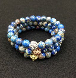 SN0446 8mm Blue Sea Sediment Stone Beads 18K Gold Rose Gold Silver Lion Head Bracelet, 2016 New Design High Grade Mens Jewelry