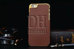 For Iphone 6 Gold Side Business Style Luxury Back Cover Cross Pattern Leather For Apple Iphone 4 5 6 Plus Cell Phone 300Pcs
