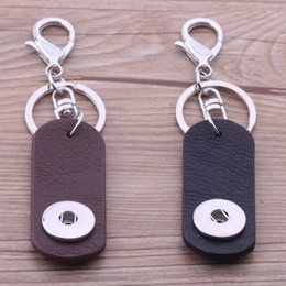 Wholesale NOOSA Interchangeable Ginger Snap Buttons Key Chain Key Rings Trend Jewelry Noosa Leather keychain favors fashion keychain HA011