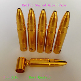 Wholesale Gold Bullet Metal Filter Smoking Pipe Head Gun Pistol Bullet Shape Cigarette Pipe tobacco pipe mm best quality fashion