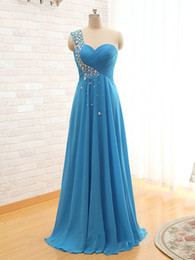 One Shoulder Beaded Crystal Long Chiffon Evening Dress 2018 Pleated Evening Gowns Floor Length Party Dress Elegant