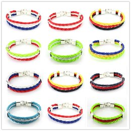 2016 mixed 12 styles World Cup National Flags Sports 3 Strands Rope Braided Surfer Leather Bracelets Mens Wristband (8inch Long)