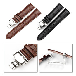 2017 bracelet en cuir véritable 16-24mm gros-gros bracelet montre bracelet Motif papillon en cuir véritable boucle déployante Bracelet Brun Noir watchbands bracelet en cuir véritable offres