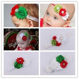 Wholesale Boutique Christmas baby hair headband big flower diamond bpearl aby girls hair accessories for baby headband hair band