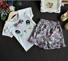 Wholesale Girls Girls Outfits and Sets Babys Kids Clothes New Summer Sleeveless Vest T shirts and shorts floral pants Fashion One Pieces