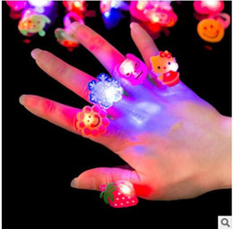 Wholesale Toys Children Flash Rings LED Colorful Creative Gift Finger Emitting Light Up Toys Interesting Trendy ABS Environmental Toys Styles