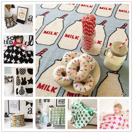 Wholesale Baby Blanket Cute Cotton Knitted for Bed Sofa Bath Towels INS Newborn Swaddling Quilt Milk Bottle Rug Egg Carpet Autumn Winter Patterns