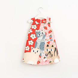 Fille chat cru en Ligne-Robe de Noël Enfants Filles Chats Imprimer Floral robe sans manches Vintage Holiday Party Rose Couleur Mignon Enfants