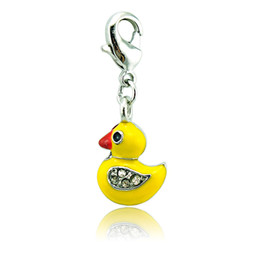 Brand New Floating Charms With Lobster Clasp Silver Plated White Rhinestone Yellow Duck Charms Pendants DIY Jewelry Accessories