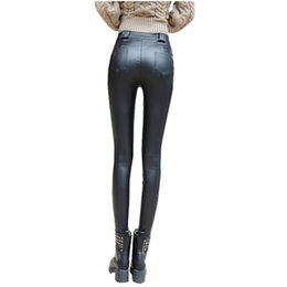 2016 Fashion Autumn Winter High Quality Women's Sexy Slim PU Leather Pants Boots Trousers Thin Pencil Pants High Waist Pants