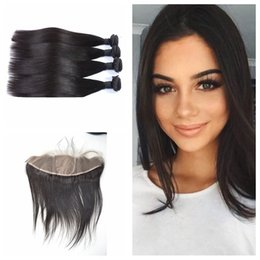 2017 teñidos haces de pelo de malasia 8A Malasia Straight cabello 13x4 de seda base de encaje Frontal Cierre con 4pcs pelo Bundles puede ser teñido de negro natural DHL GRATIS presupuesto teñidos haces de pelo de malasia