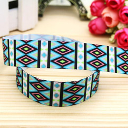 "7 8"" 22mm Blue Black Geometry Printed Grosgrain Ribbon for Party Deco Hair Bow DIY Craft Baby A2-22-3132"