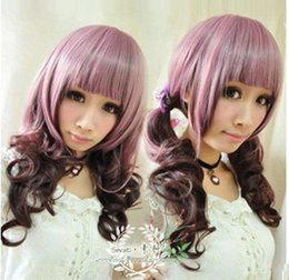 100% Brand New High Quality Fashion Picture full lace wigs>>Cosplay Harajuku AMO  Long Purple  Dark Brown  mixed wigs