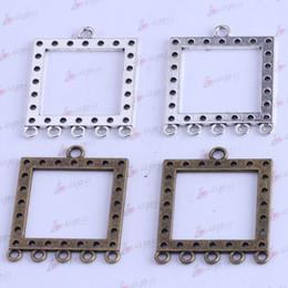 Square Listing charms Antique silver bronze Pendant Fit Bracelets Necklace DIY Metal Jewelry 30pcs lot 2531